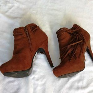 Madeline Girl Suede Rust Brown Ankle Booties